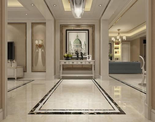 现代, 家装, 玄关, 过道, 装饰柜