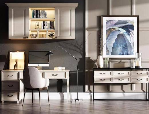 桌椅组合, 书桌, 单人椅, 装饰花, 挂画, 摆件, 装饰品, 陈设品, 美式