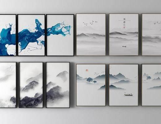 新中式装饰画, 装饰画, 风景画