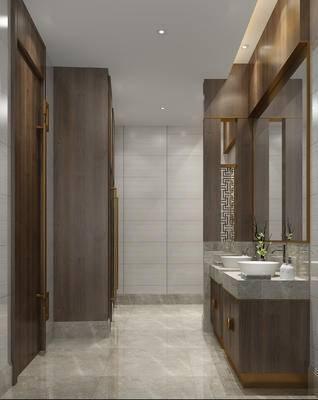 新中式, 卫生间, 洗手台, 镜子, 饰品
