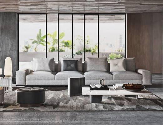 沙发组合, 茶几, 摆件组合, 单椅, 边几, 落地灯
