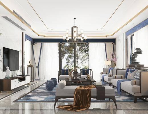 客厅, 新中式客厅, 沙发组合, 茶几, 摆件组合, 沙发凳, 装饰品, 电视柜, 吊灯, 植物, 盆栽, 新中式