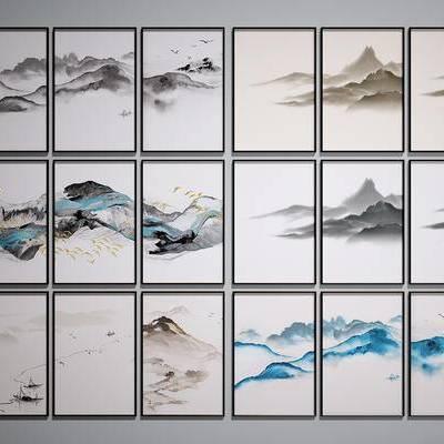 中式装饰挂画, 中式山水画, 中式装饰画