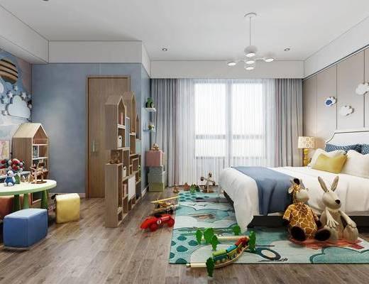 儿童房, 双人床, 玩具, 玩偶, 床头柜, 台灯, 墙饰, 茶几, 凳子, 装饰柜, 装饰架, 书柜, 书籍, 摆件, 装饰品, 陈设品, 吊灯, 现代