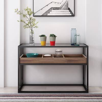 玄关柜, 花瓶, 绿植植物, 盆栽, 边几, 饰品模型, 现代
