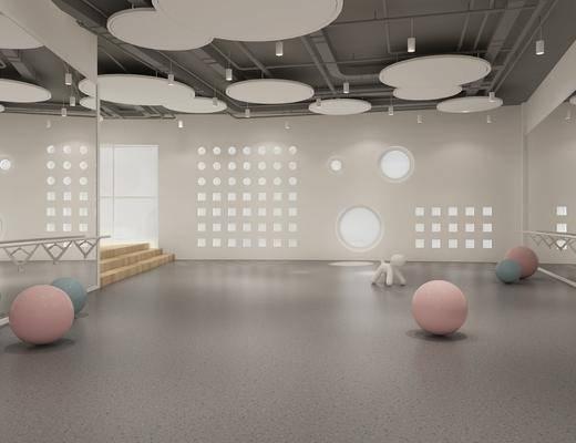 现代舞蹈室, 瑜伽球