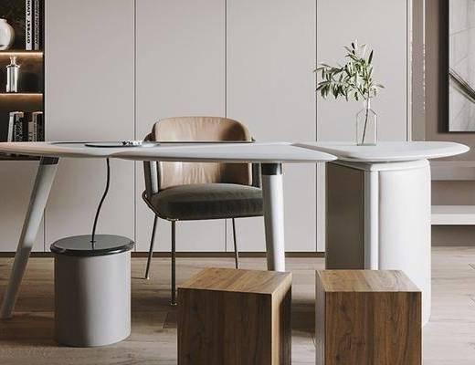 书桌, 桌椅组合, 植物, 书柜, 书籍