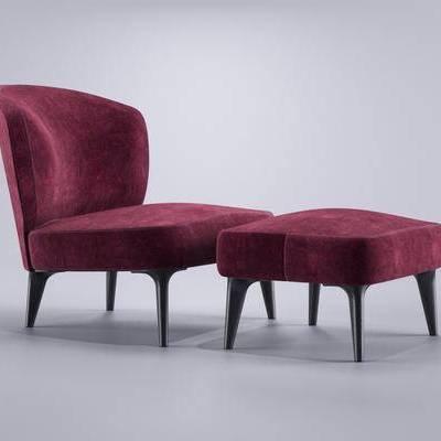 沙发, 脚榻, 单椅, 单人沙发, 现代