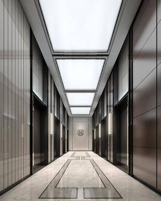 新中式, 电梯厅, 工装