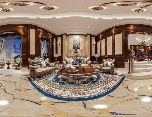 美式, 客厅, 餐厅, 沙发, 吊灯, 多人沙发, 茶几