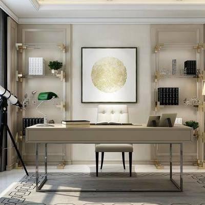 书房, 书桌椅, 望远镜, 书柜, 装饰柜, 置物柜