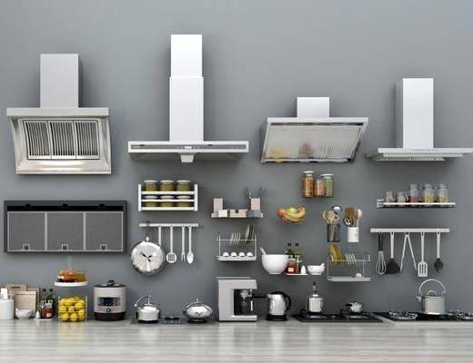 现代抽油烟机厨具组合, 现代, 抽油烟机, 厨具, 食物, 水壶
