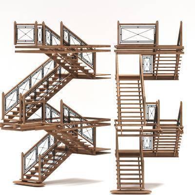 铁艺楼梯, 复古楼梯, 现代