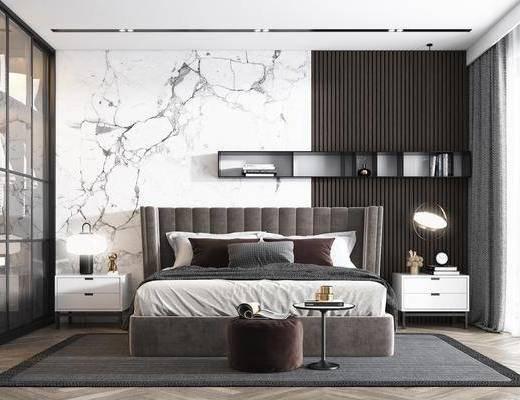 双人床, 衣柜, 床尾踏, 地毯, 床头柜