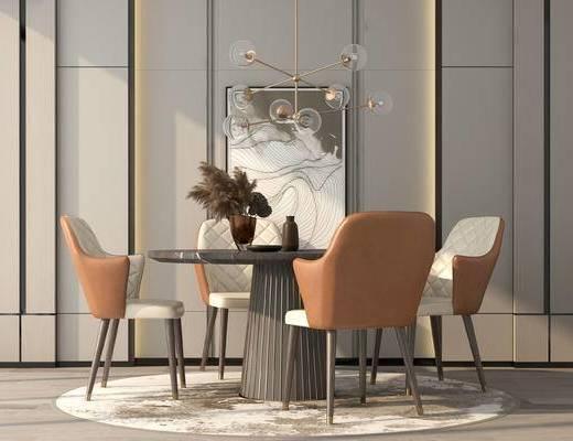 餐桌, 桌椅组合, 吊灯, 装饰画, 花瓶