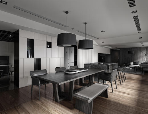 后现代, 客厅, 餐厅, 餐桌椅, 灯具