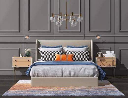 床具组合, 吊灯, 摆件组合, 现代