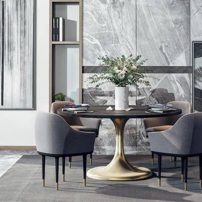 餐桌椅组合, 餐桌, 餐椅, 单人椅, 摆件, 装饰品, 装饰画, 挂画, 现代