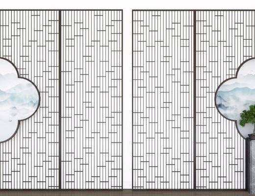 屏风隔断, 隔断组合, 新中式