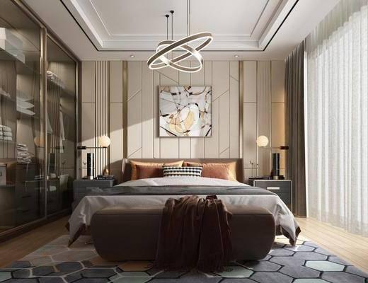 卧室, 双人床, ?#39184;?#26588;, 装饰画, 挂画, 吊灯, 衣柜, 服饰, 现代