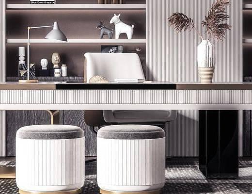 桌椅組合, 盆栽植物, 落地燈, 書柜, 擺件組合