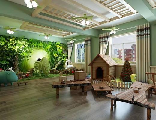 幼儿园, 桌椅组合, 绿植墙, 吊扇