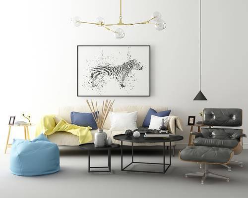 沙发, 单人沙发, 茶几, 抱枕, 装饰画, 吊灯