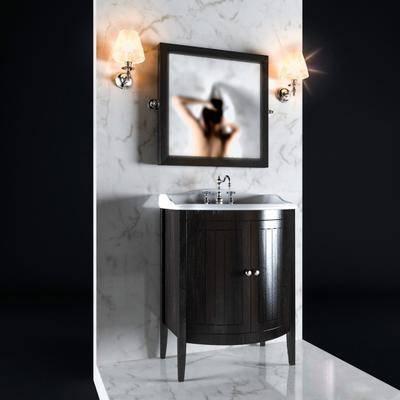 洗手台, 洗漱台, 浴镜, 壁灯, 现代
