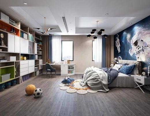 现代男孩房, 男孩房, 卧室, 双人床