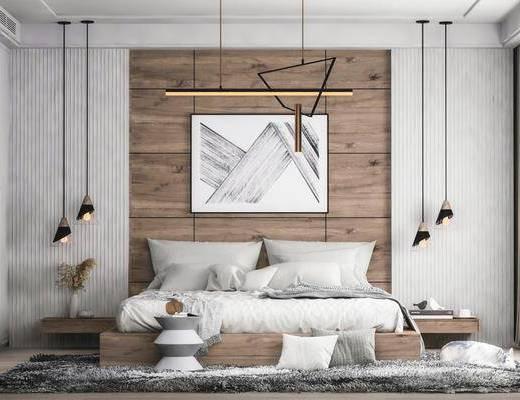 双人床, 吊灯, 装饰画, 地毯, 床头柜