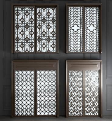 双开门, 新中式实木玻璃双开门3d模型, 雕花, 实木