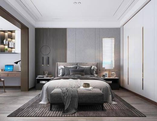 单人床, 床头柜, 床尾踏, 桌椅组合, 衣柜