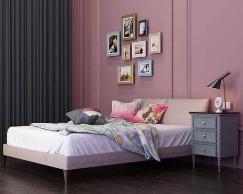 双人床, 床头柜, 装饰画, 挂画, 照片墙, 台灯, 北欧