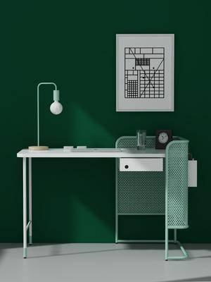 书桌, 装饰画, 摆件组合