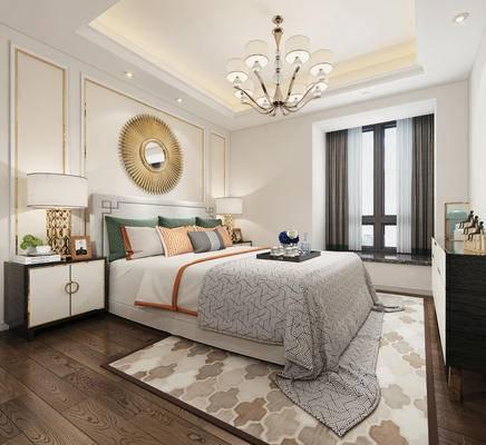 床, 金属墙饰, 新中式, 新中式卧室, 新中式床头柜, 中式床