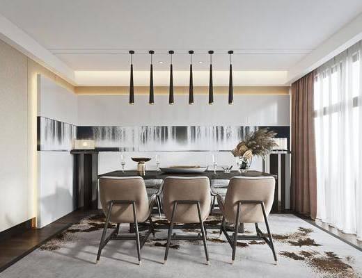 餐桌, 吊灯, 桌椅组合, 餐具组合
