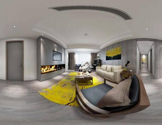 客厅, 现代, 沙发组合, 沙发茶几组合, 电视墙, 背景墙, 装饰画, 北欧