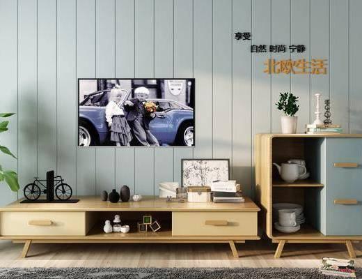 电视柜, 装饰柜, 边柜, 餐边柜, 墙饰, 盆栽, 单人椅, 餐具, 摆件, 装饰品, 陈设品, 北欧