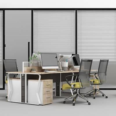 办公区, 办公桌, 办公椅, 单人椅, 装饰架, 书籍, 现代, 双十一