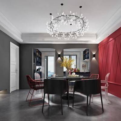 餐桌, 餐椅, 摆件, 吊灯, 壁灯, 现代