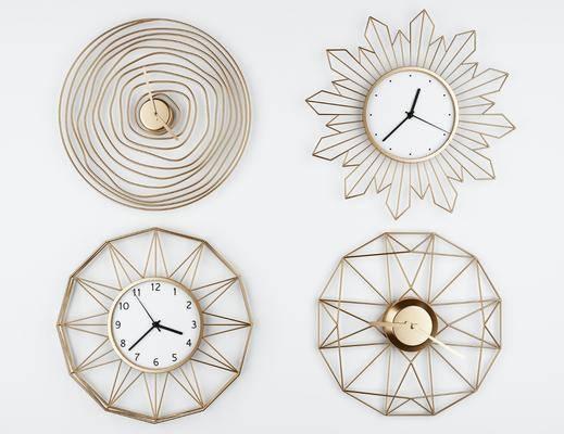 挂件, 时钟, 现代金属墙饰壁挂钟表3d模型