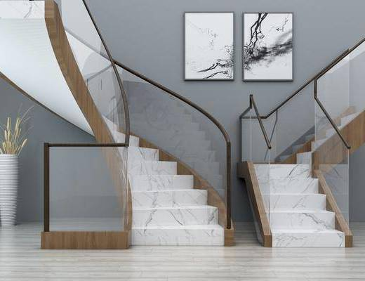 玻璃旋轉, 樓梯扶手, 扶手欄桿, 裝飾畫, 掛畫, 現代