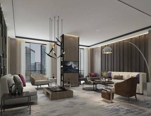 现代, 客厅, 多人沙发, 单人沙发, 茶几, 吊灯, 单椅, 落地灯, 边几
