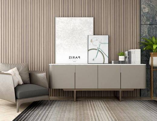 电视柜, 装饰柜, 边柜, 盆栽, 单人沙发, 装饰画, 挂画, 摆件, 装饰品, 陈设品, 北欧