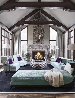 客厅, 北欧, 别墅, 鹿头, 木梁, 北欧客厅