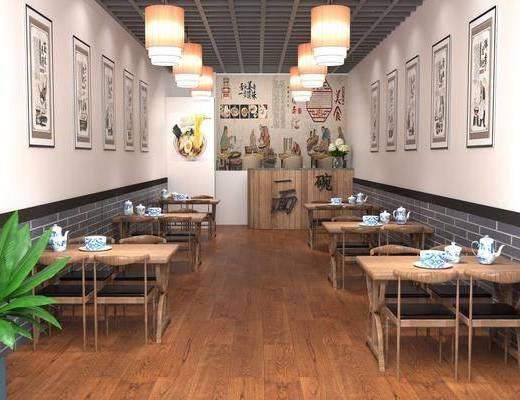 餐厅, 面馆, 餐桌, 餐椅, 单人椅, 茶具, 吊灯, 盆栽, 前台, 绿植, 中式