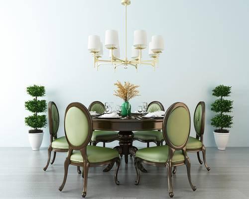 餐桌椅, 椅子, 圆桌, 绿植, 吊灯, 花瓶