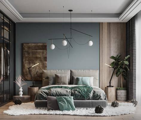 现代卧室, 双人床, 饰品, 吊灯