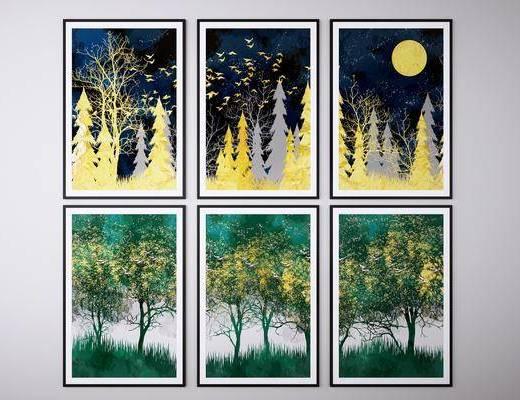 装饰画, 挂画, 风景画组合
