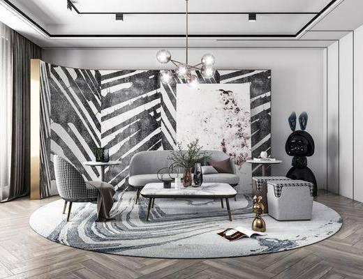 沙发组合, 茶几, 吊灯, 单椅, 摆件组合